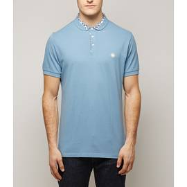 Blue  Ditsy Printed Collar Polo Shirt