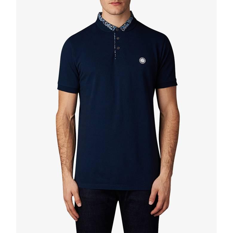 Mens Ditsy Printed Collar Polo Shirt