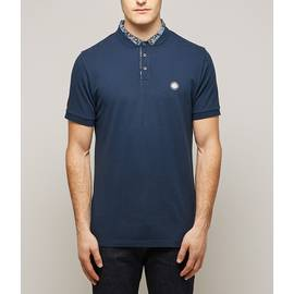 Navy  Ditsy Printed Collar Polo Shirt