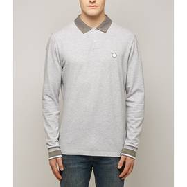 Grey  Long Sleeve Pique Tipped Polo Shirt
