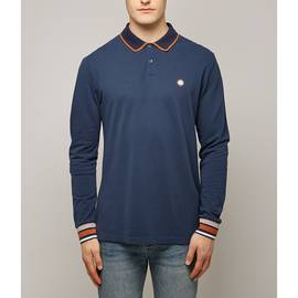 Navy  Long Sleeve Pique Tipped Polo Shirt