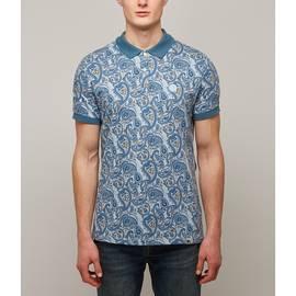 Blue  Pique Paisley Print Polo Shirt