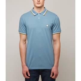 Mid Blue  Tipped Pique Polo Shirt
