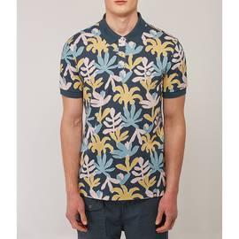 Navy  Pique Leaf Print Polo Shirt