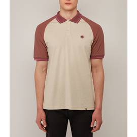 Stone  Colour Block Raglan Polo Shirt