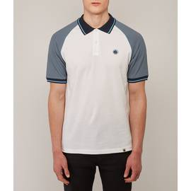 White  Colour Block Raglan Polo Shirt