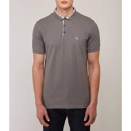 Grey  Paisley Print Collar Polo Shirt