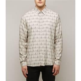 Stone  Slim Fit Radio Wave Print Shirt