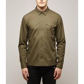 Green  Slim Fit Zip Front Shirt