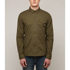 Khaki Zip Front Shirt With Internal Print