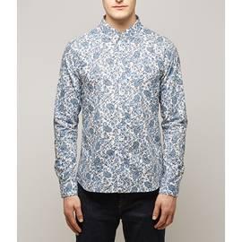 Blue  Slim Fit Ditsy Printed Shirt