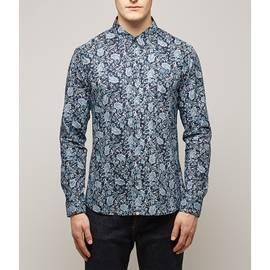 Navy  Slim Fit Ditsy Printed Shirt
