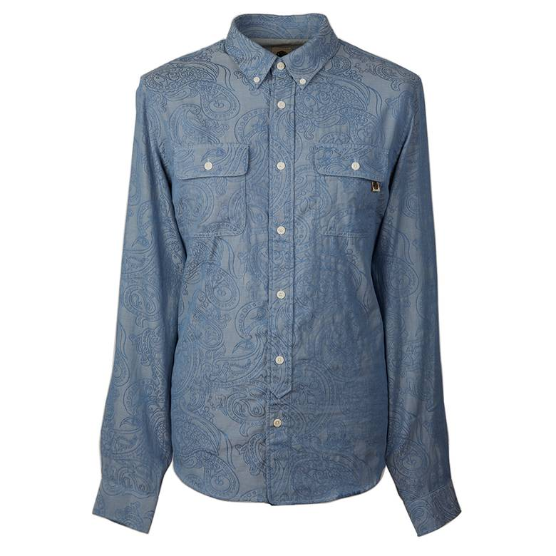 Mens Slim Fit Paisley Chambray Shirt
