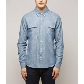 Blue  Slim Fit Paisley Chambray Shirt