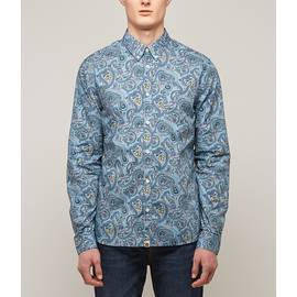 Blue  Slim Fit Paisley Print Shirt