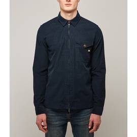 Navy  Cord Zip Through Shirt