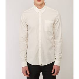 White  Slim Fit Anchor Chambray Shirt