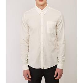 White  Slim Fit Anchor Chambray Shirt