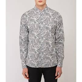 Grey  Slim Fit  Paisley Print Shirt