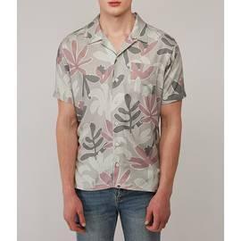 Grey  Short Sleeve Leaf Print Shirt