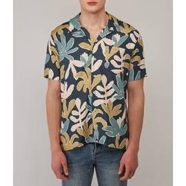 Navy  Short Sleeve Leaf Print Shirt