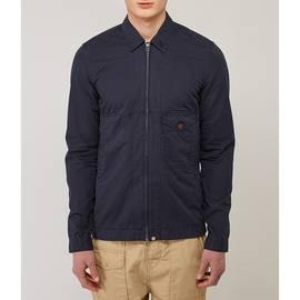 Navy  Garment Dyed Zip Through Shirt