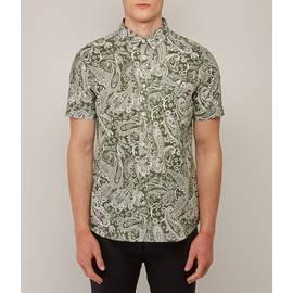 Green  Short Sleeve Paisley Print Shirt