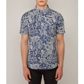 Navy  Short Sleeve Paisley Print Shirt