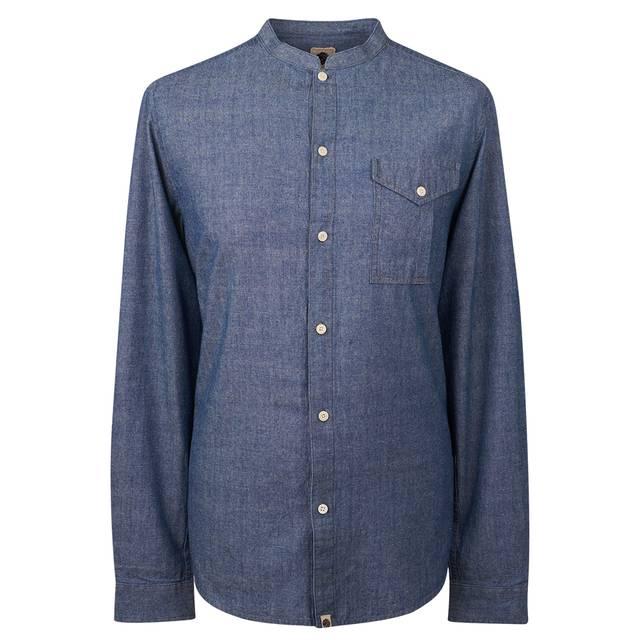 Slim fit collarless shirt pretty green online shop for Collarless white shirt slim fit