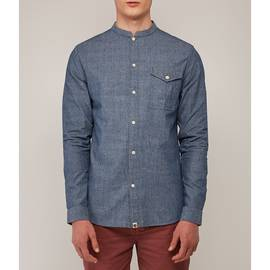 Indigo  Slim Fit Collarless Shirt
