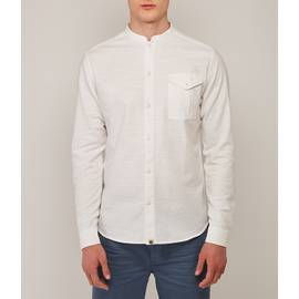 White  Slim Fit Collarless Shirt