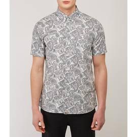 Grey  Slim Fit Short Sleeve Paisley Shirt