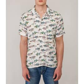White  Beatles Fish Print Shirt