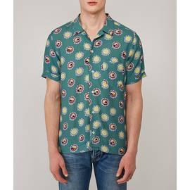 Green  Beatles Flower Faces Print Shirt
