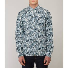 Blue  Slim Fit Paisley Print Shirt