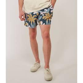 Navy  Leaf Print Swim Shorts