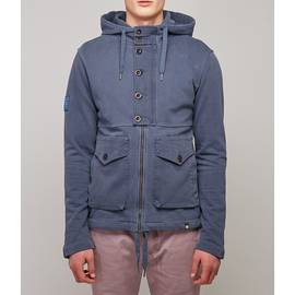 Navy  Contrast Panel Hooded Sweat
