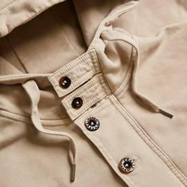 Stone  Contrast Panel Hooded Sweat