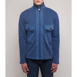 Blue Zip Through Chest Pocket Sweat