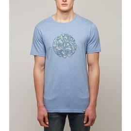 Blue  Paisley Print Applique Logo Tshirt