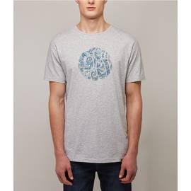 Grey  Paisley Print Applique Logo Tshirt