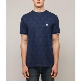 Navy  Radio Wave Jacquard T-Shirt