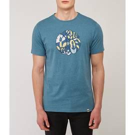 Blue  Leaf Print Applique Logo T -Shirt