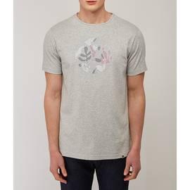 Grey  Leaf Print Applique Logo T -Shirt