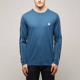 Blue Long Sleeve Contrast Piping T-Shirt