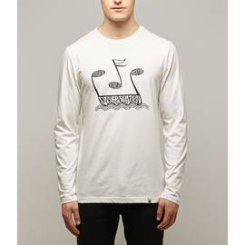 White Long Sleeve Music Print T-Shirt