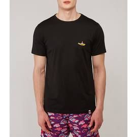 Black Beatles Submarine Embroidery T-Shirt