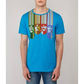 Blue  Beatles Face Print T-Shirt