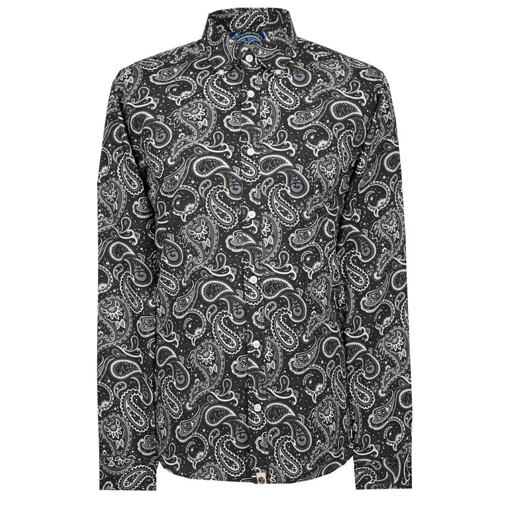 A9GMU15000206 Pretty Green Black Paisley Applique T-Shirt
