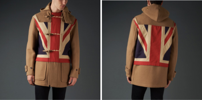 a1518beaa The first style features a hand sewn Union Jack flag placed on the front  and back body panels. This flag is garment dyed onto our black duffle coat.